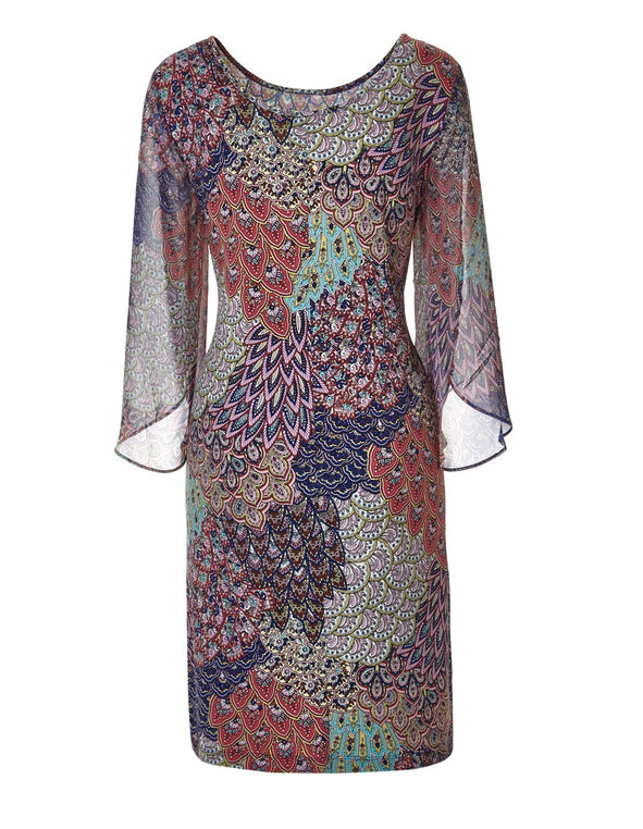 Feather Print Sheath Dress, Navy/Aqua/Mint/Coral, hi-res