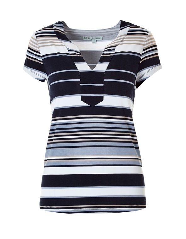 Striped Split V-Neck Tee, Navy/White/Stone/Washed Blue, hi-res