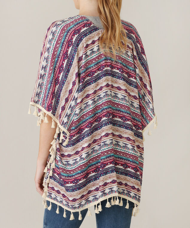 pink allover print and tassel kimono, PINK/CREAM, hi-res