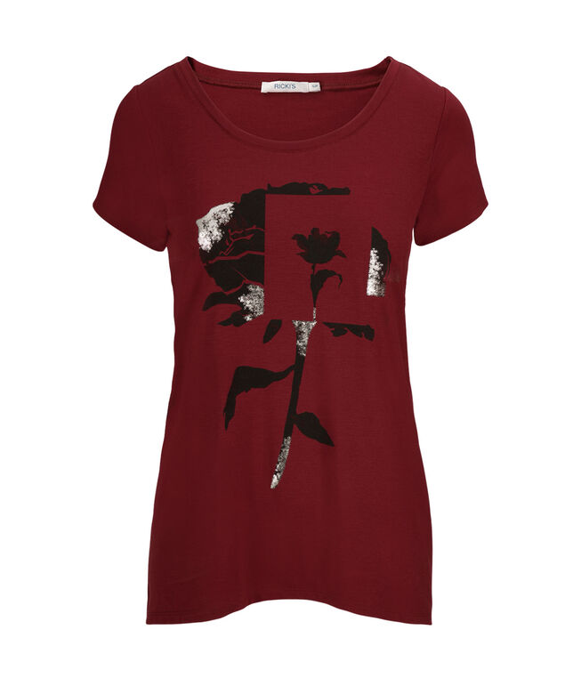 High Low Tee, Cranberry Pattern, hi-res