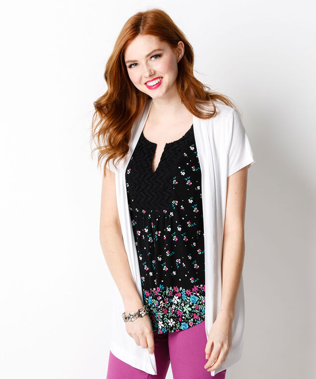 Floral Crochet Bib, Black Print, hi-res