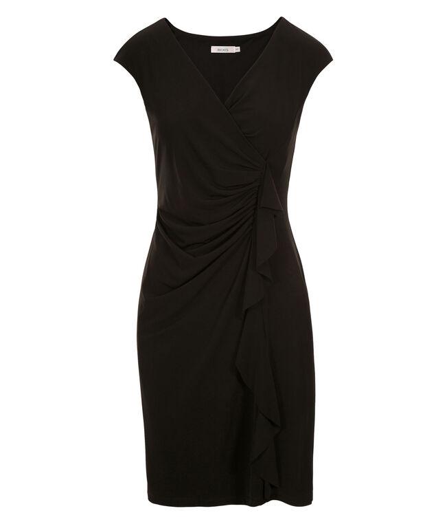 Ruffle Front Sheath Dress, Black, hi-res