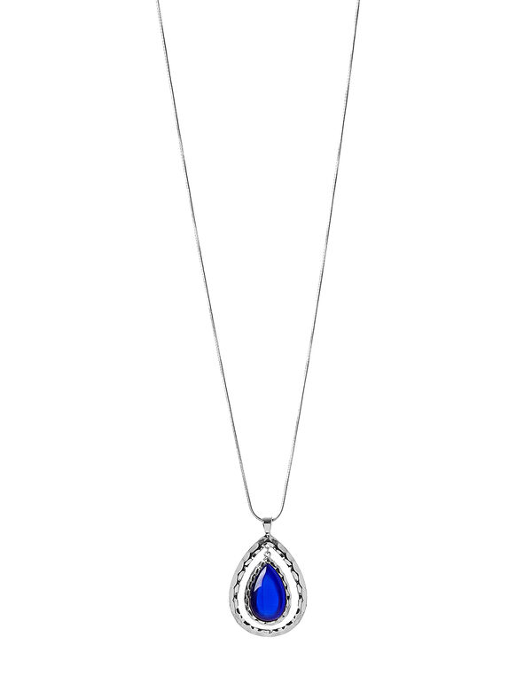 Royal Blue Cateye Pendant Necklace, Rhodium/Royal Blue, hi-res