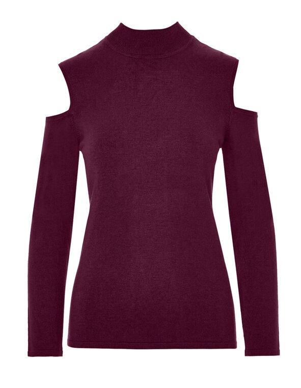 Claret Cold Shoulder Sweater, Claret, hi-res