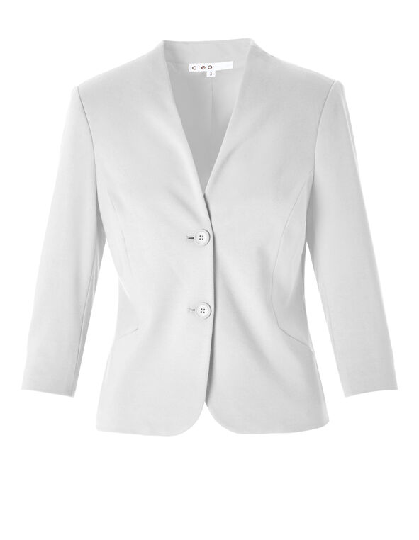 White 3/4 Sleeve Blazer, White, hi-res