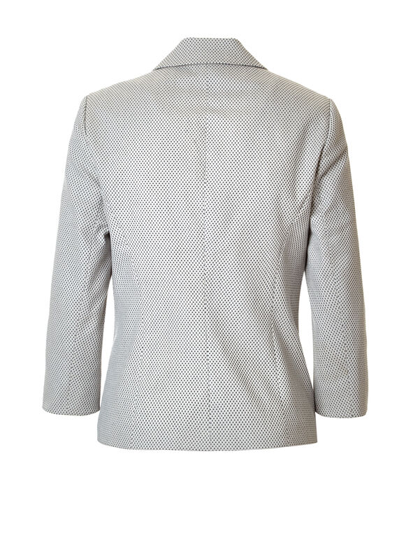 Stone Dot 3/4 Sleeve Blazer, Stone/Black/White, hi-res