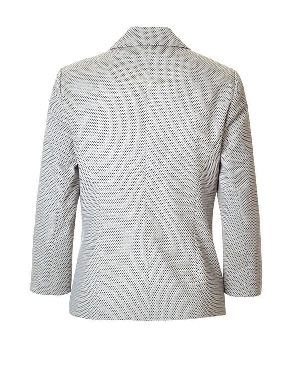 Stone Dot 3/4 Sleeve Blazer, Stone/Black/White, hi-res