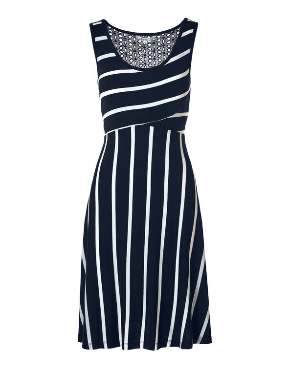 Navy Stripe Eyelet A-Line Dress, Navy/White, hi-res