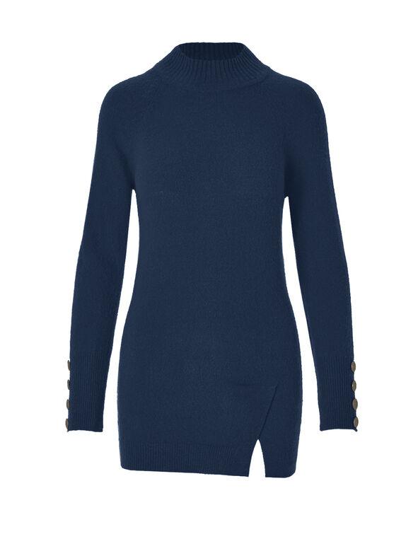 Blue Mockneck Tunic Sweater, Petrol Blue, hi-res