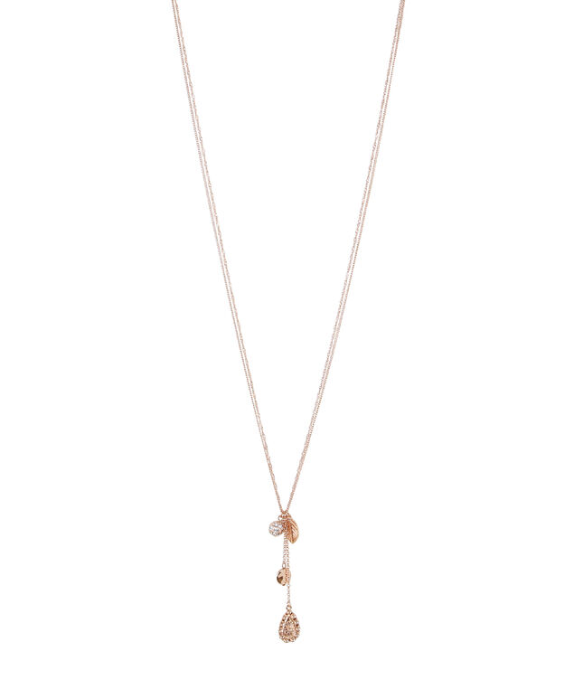 long double strand necklace, ROSE GOLD, hi-res
