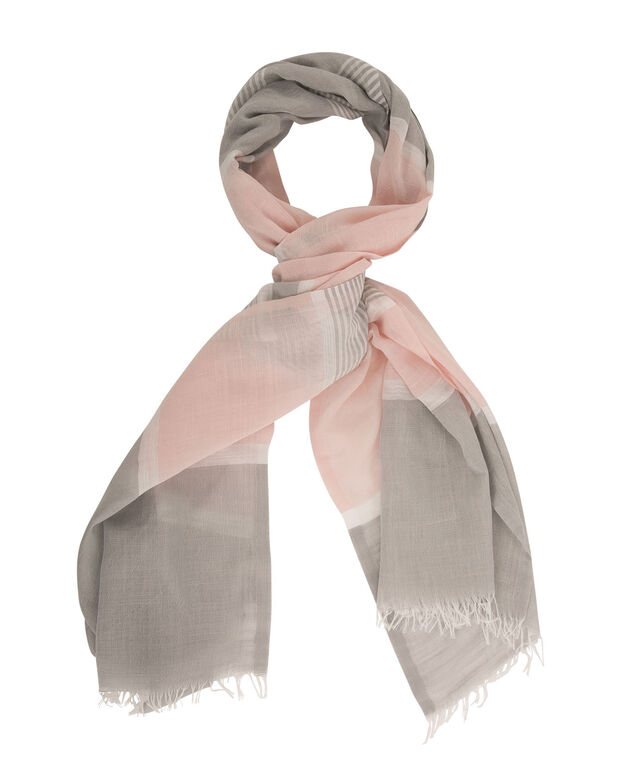 Colourblock Stripe Scarf, Pink/Grey/White, hi-res