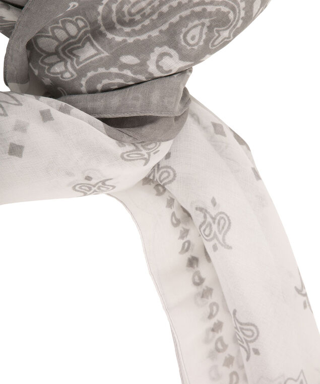 Paisley Print Colourblock Scarf, Grey/White, hi-res