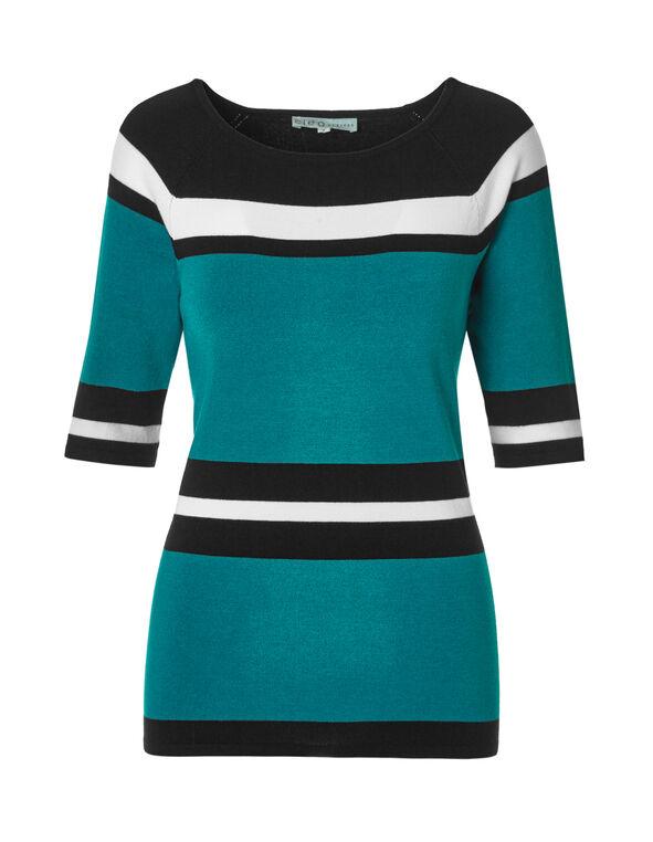 Rio Frio Stripe Sweater, Black/White/Rio Frio, hi-res