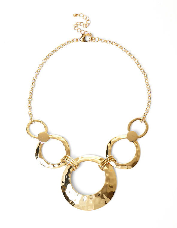 Gold Hammered Circle Necklace, Gold, hi-res