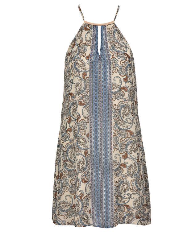 Halter Neck Scarf Dress, Ivory/Sky Blue, hi-res