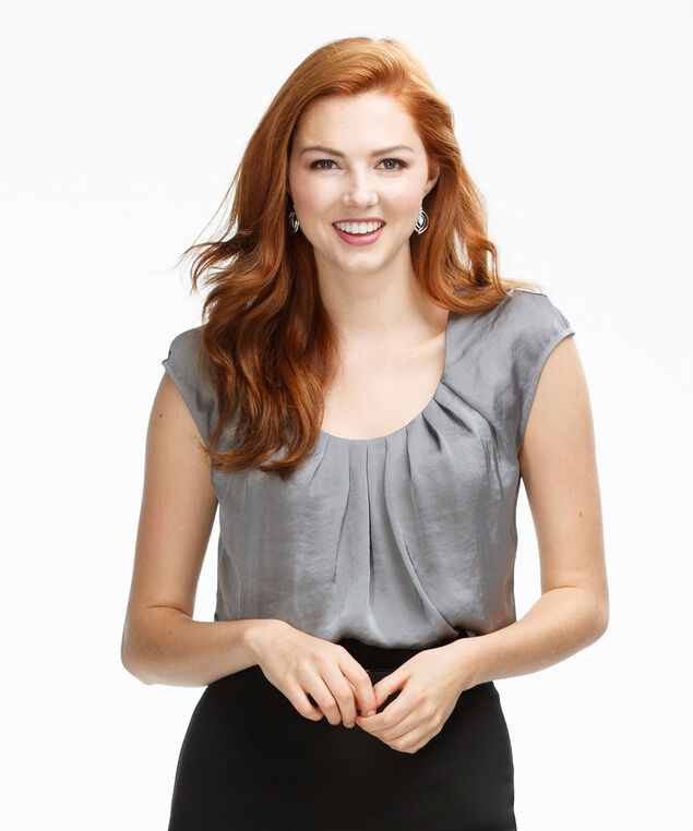 Pintuck Satin Top, Grey, hi-res