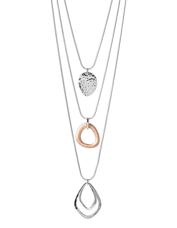 Rose Gold Multi Necklace, Silver/Rose Gold, hi-res