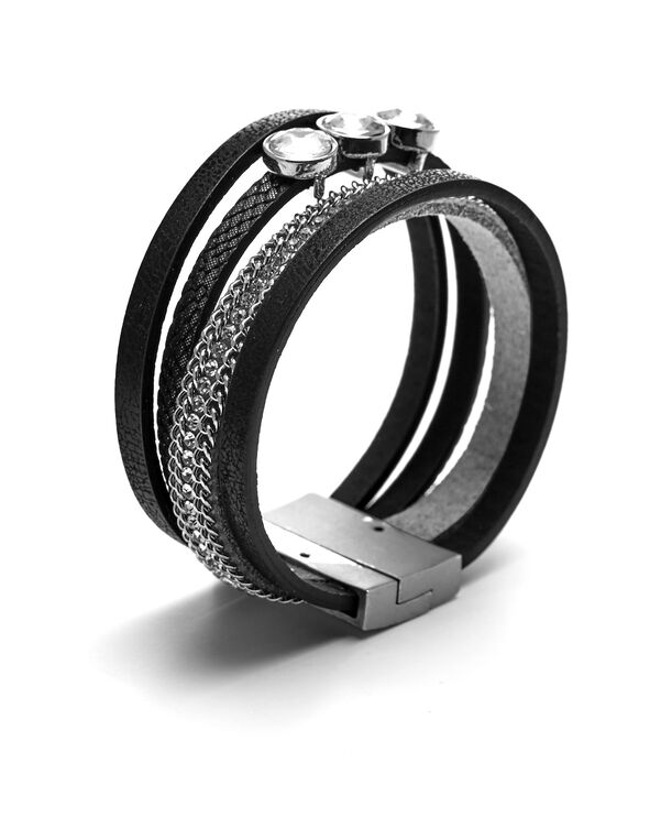Black Multi Wrap Bracelet, Black/Silver, hi-res