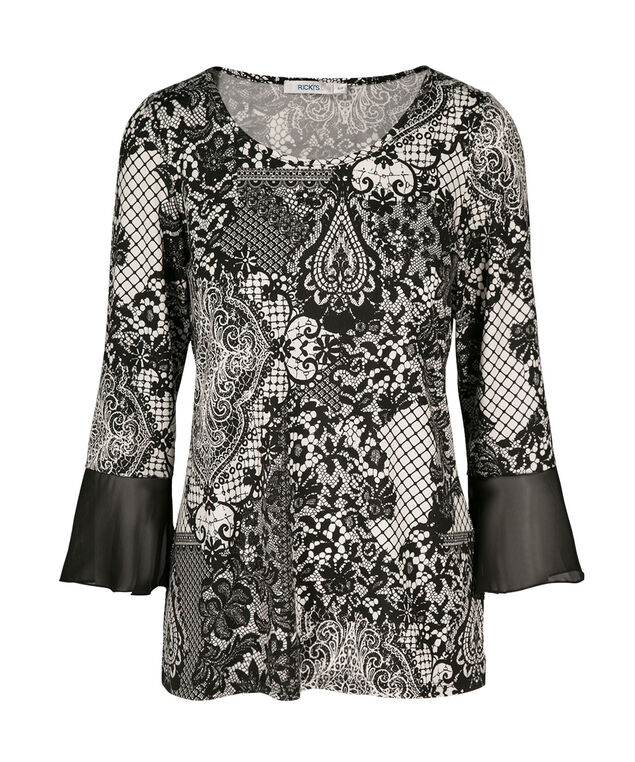 Bell Sleeve Top, Black/White Print, hi-res