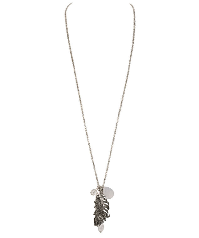 Feather & Tassel Pendant Necklace, Burnished Silver, hi-res
