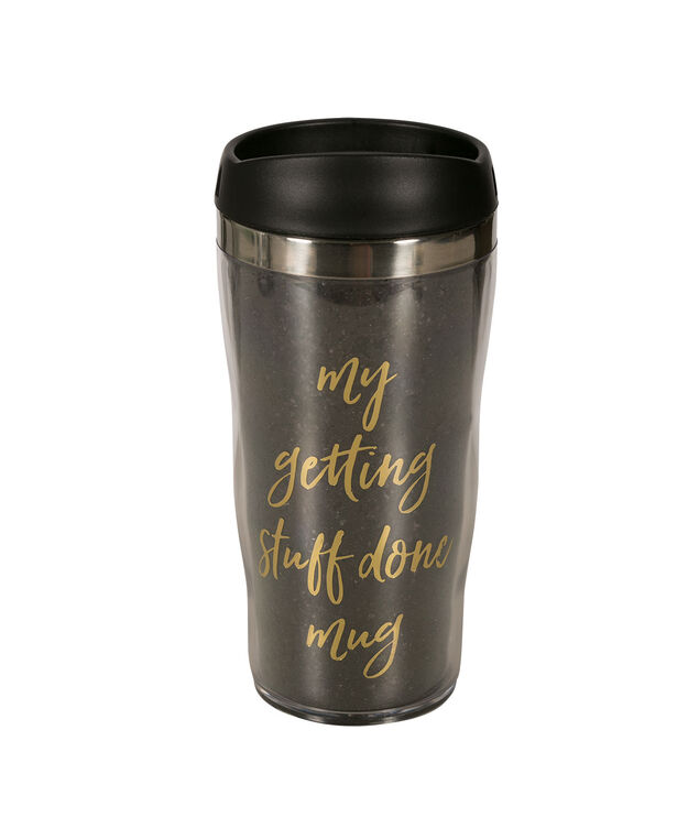 Getting Stuff Done Travel Mug, Black/Gold, hi-res