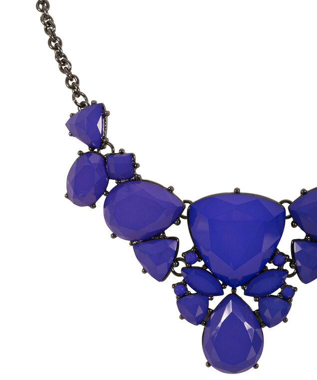 Faceted Stone Statement Necklace, Royal Purple/Hematite, hi-res