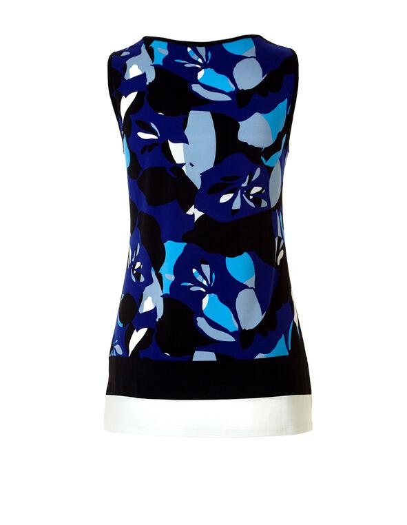 Floral Colour Block Top, Royal Blue/Washed Blue/Ivory/Black, hi-res