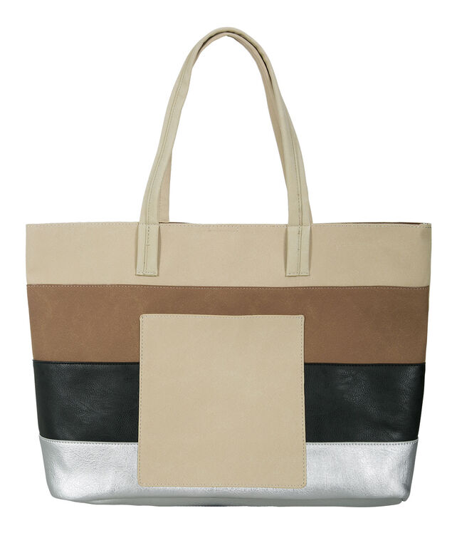 Colourblock Tote Bag, White/Neutral/Black, hi-res