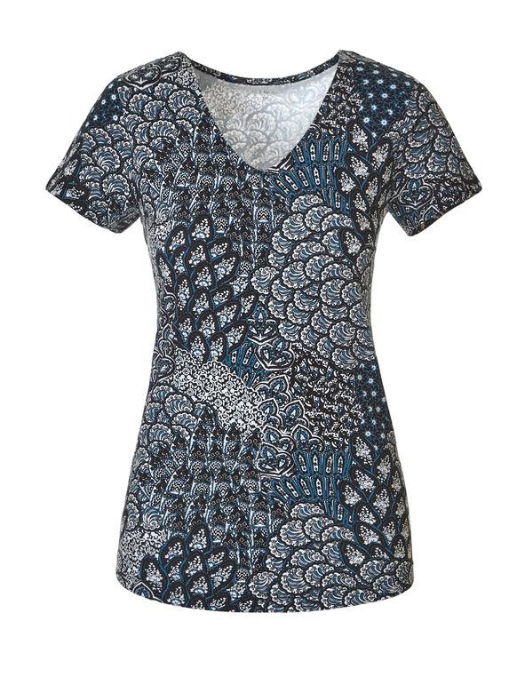 Turquoise Print V-Neck Tee, Black/White/Turquoise, hi-res