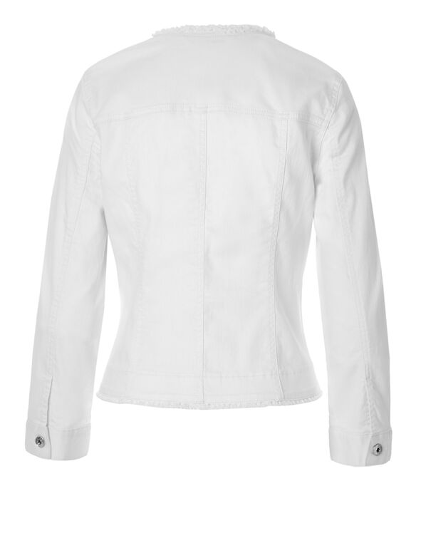 White Fringe Denim Jacket, White, hi-res