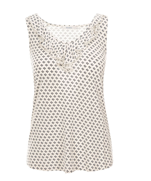 Dot Ruffle Front Tank, Neutral Print, hi-res
