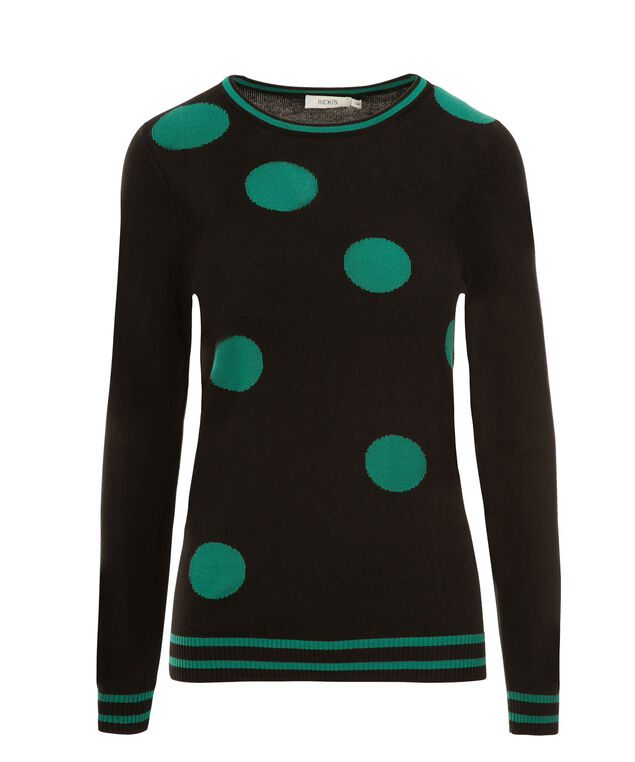 Green Dot Pullover, Black/Aspen Green, hi-res