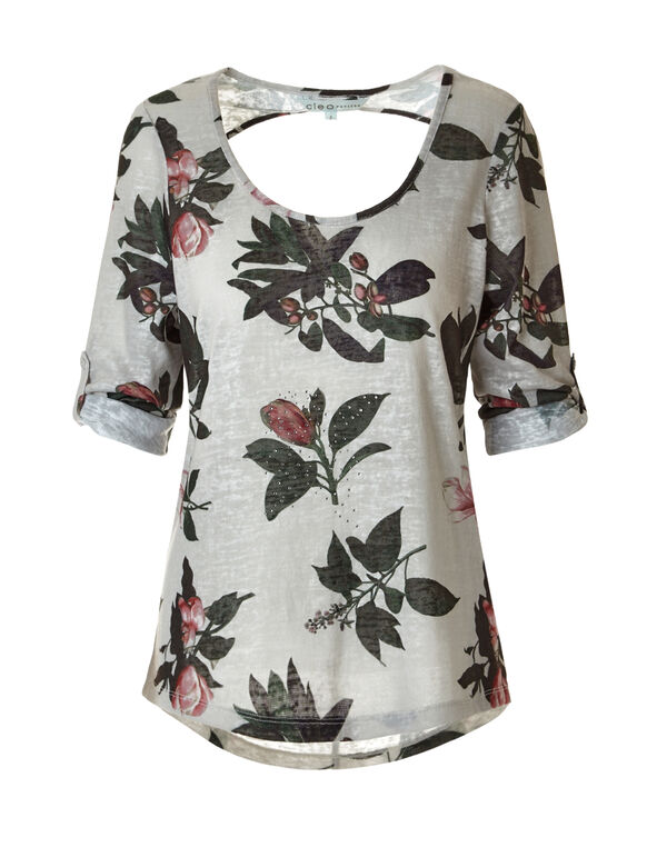 Floral Print Roll Sleeve Top, Stone/Olive/Clay, hi-res