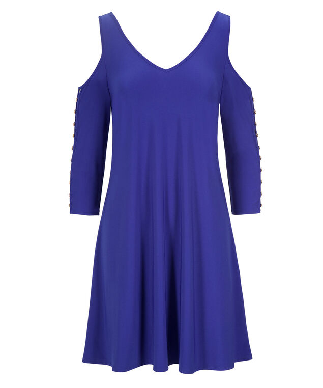 Cold Shoulder Button Dress, Blue, hi-res