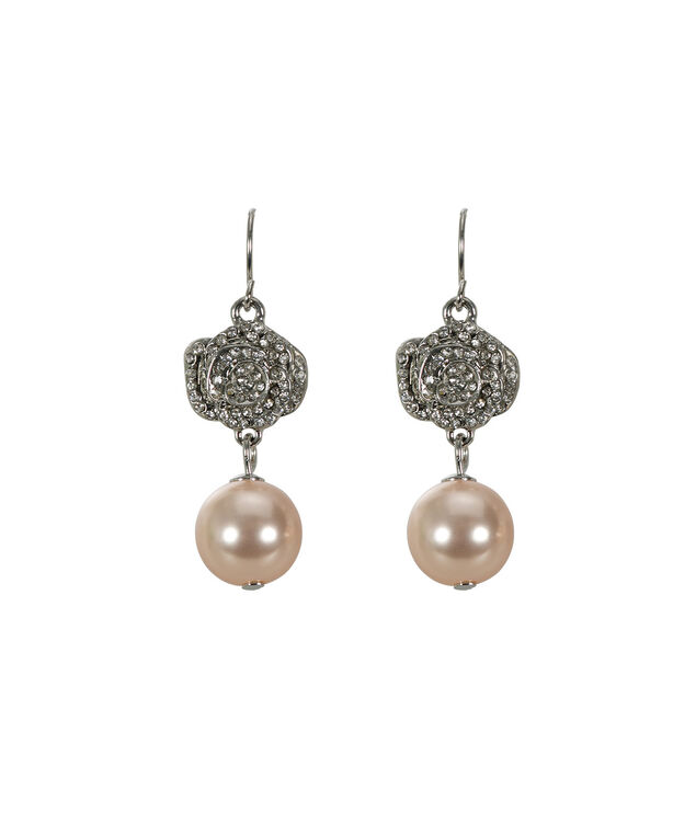 Flower & Pearl Earring, Soft Pink/Rhodium, hi-res