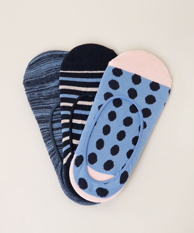 multi-pattern 3 pack of no show socks, NAVY MIX, hi-res