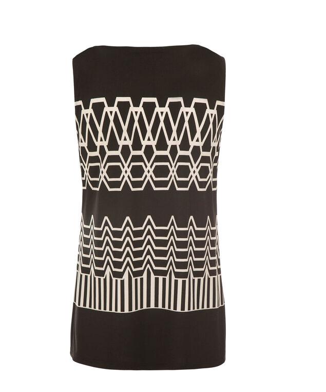 Pleat Neck Top, Black/White Print, hi-res