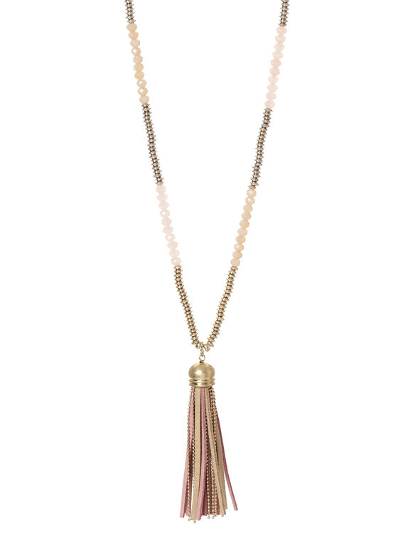 Pink Beaded Tassel Necklace, Pink/Gold/Neutral, hi-res