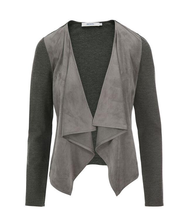 Drape Front Suede Blazer, Grey, hi-res