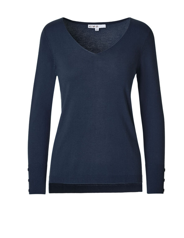 Navy V-Neck Sweater, Navy, hi-res