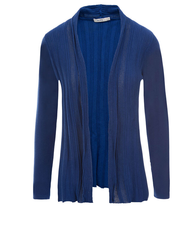 Ribbed Open Cardi, Sapphire, hi-res