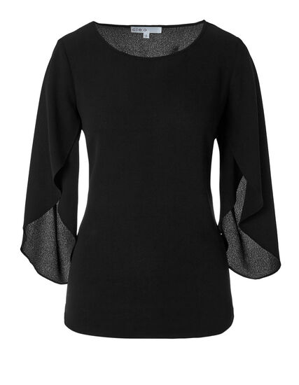 Black Tulip Sleeve Blouse, Black, hi-res