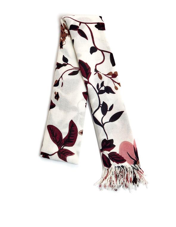 Claret Floral Oblong Scarf, Ivory/Claret/Navy, hi-res
