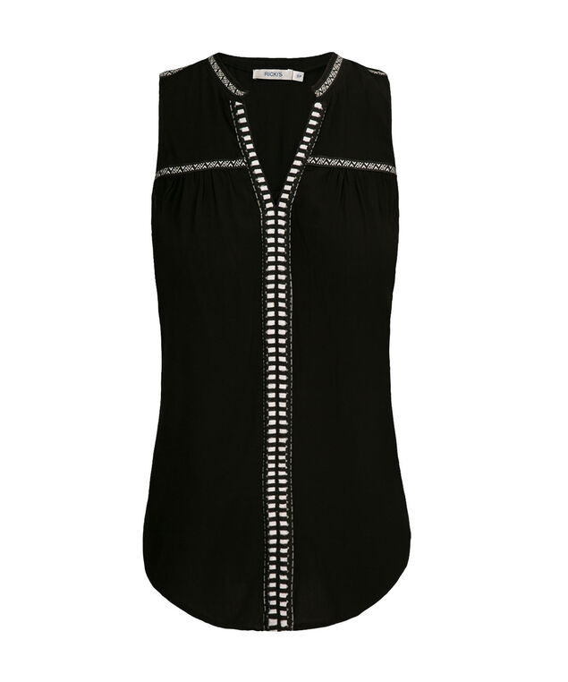 Embroidered Henley Tank, Black, hi-res