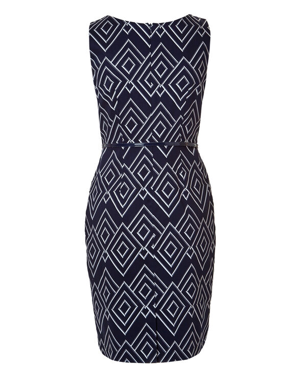 Diamond Print Shift Dress, Navy/White/Grey, hi-res
