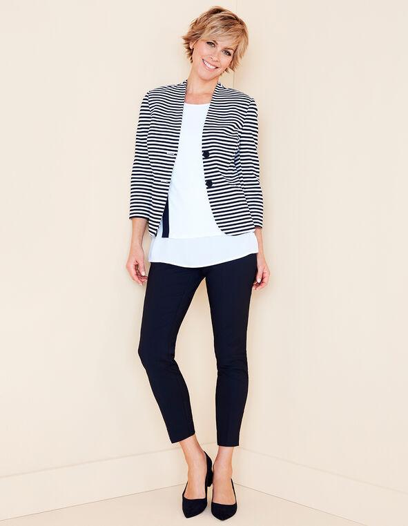 Striped 3/4 Sleeve Blazer, Navy/White, hi-res