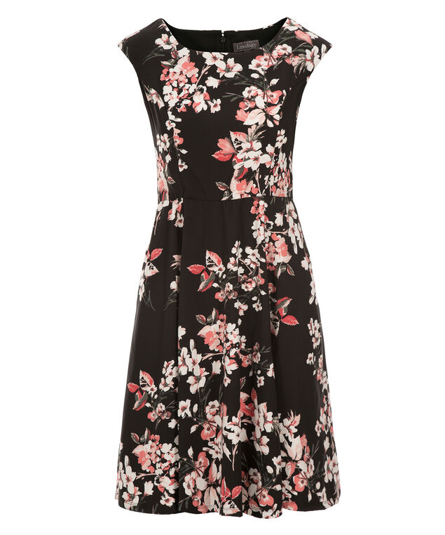 Cherry Blossom Dress, Black/Pink Print, hi-res