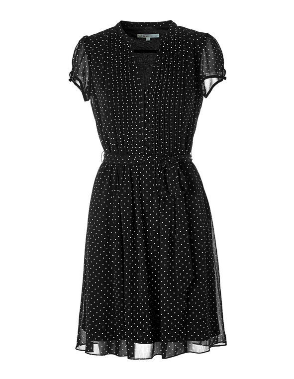 Chiffon Button Front Dress, Black/White, hi-res