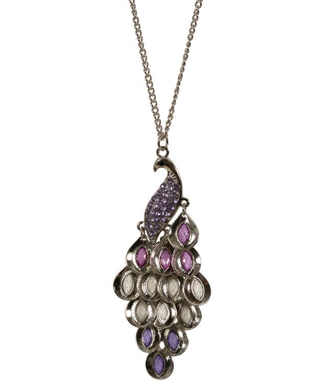 Pretty Peacock Necklace, Violet/Rhodium, hi-res