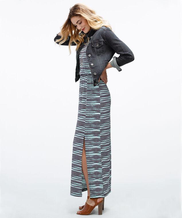 Blurred Stripe Maxi Dress, Navy Stripe, hi-res